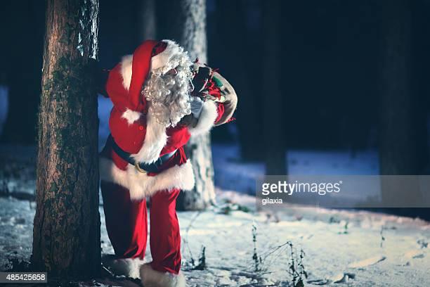Santa Claus going through snowy woods.