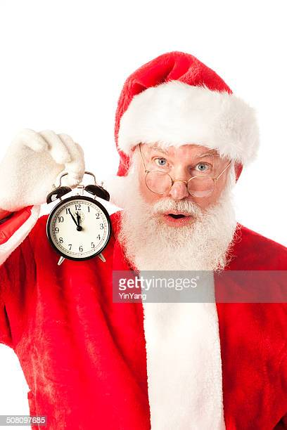 Santa Claus Holding Alarm Clock for Christmas Shopping Deadline