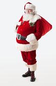 Santa Claus holding his gift bag