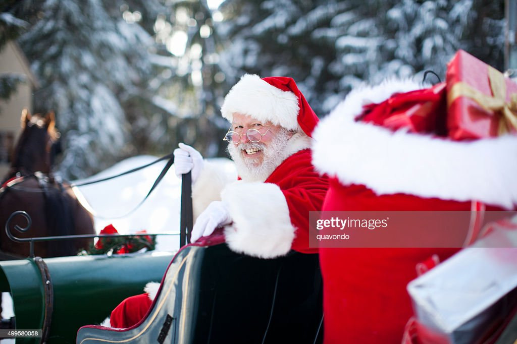 Santa Claus in His Sleigh at North Pole : Stock Photo