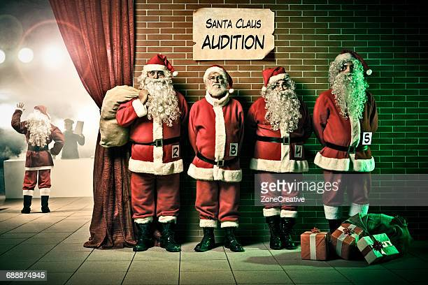 santa claus in line for a theater audition - santa close up stock pictures, royalty-free photos & images