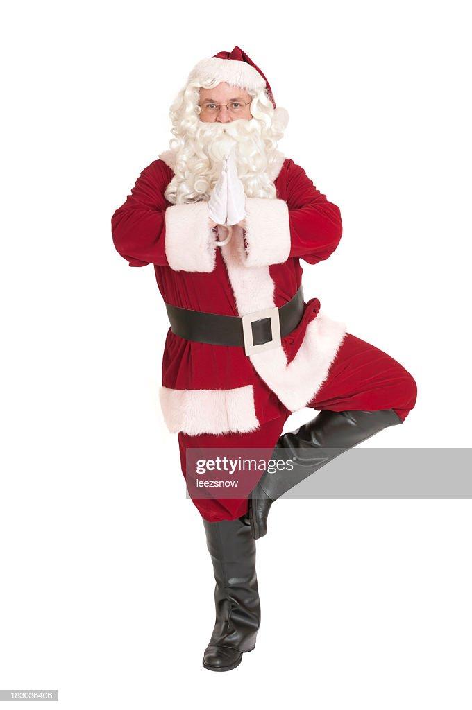 Santa Claus im Baum Pose Yoga-Serie : Stock-Foto