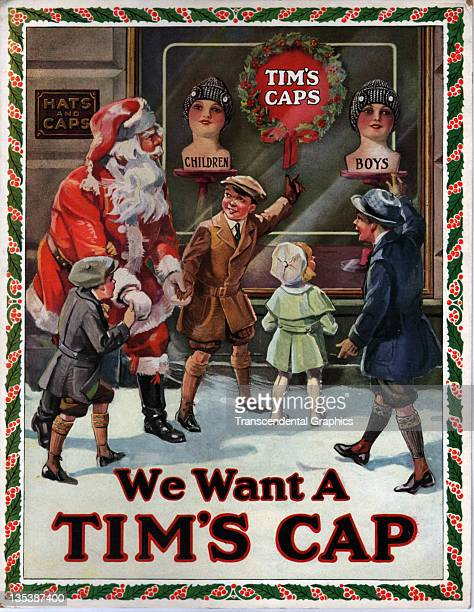 Santa Claus is shown Tim's caps in a store window by excited children in this advertising poster printed circa 1940 in an unknown location