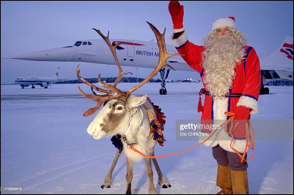Santa Claus, Lapland, In Rovaniemi, Finland In 1997-Arrival of Concorde at the airport of Rovaniemi, Lapland. Travelers are greeted by Santa Claus in person, well-accompanied on his reindeer and his sleigh.--- Arrival of the concord in lapland.travelers welcomed by santa claus.