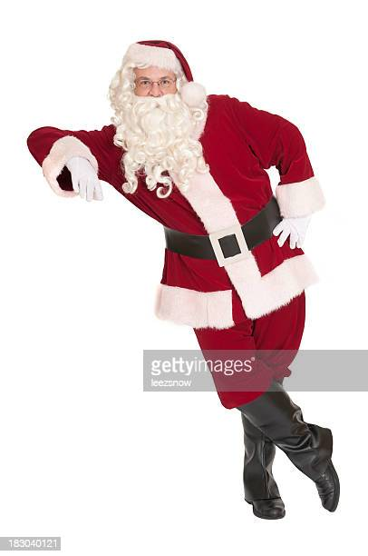 Santa Claus Leaning, With a White Background