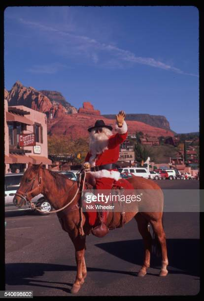 santa claus on a horse - arizona christmas stock pictures, royalty-free photos & images