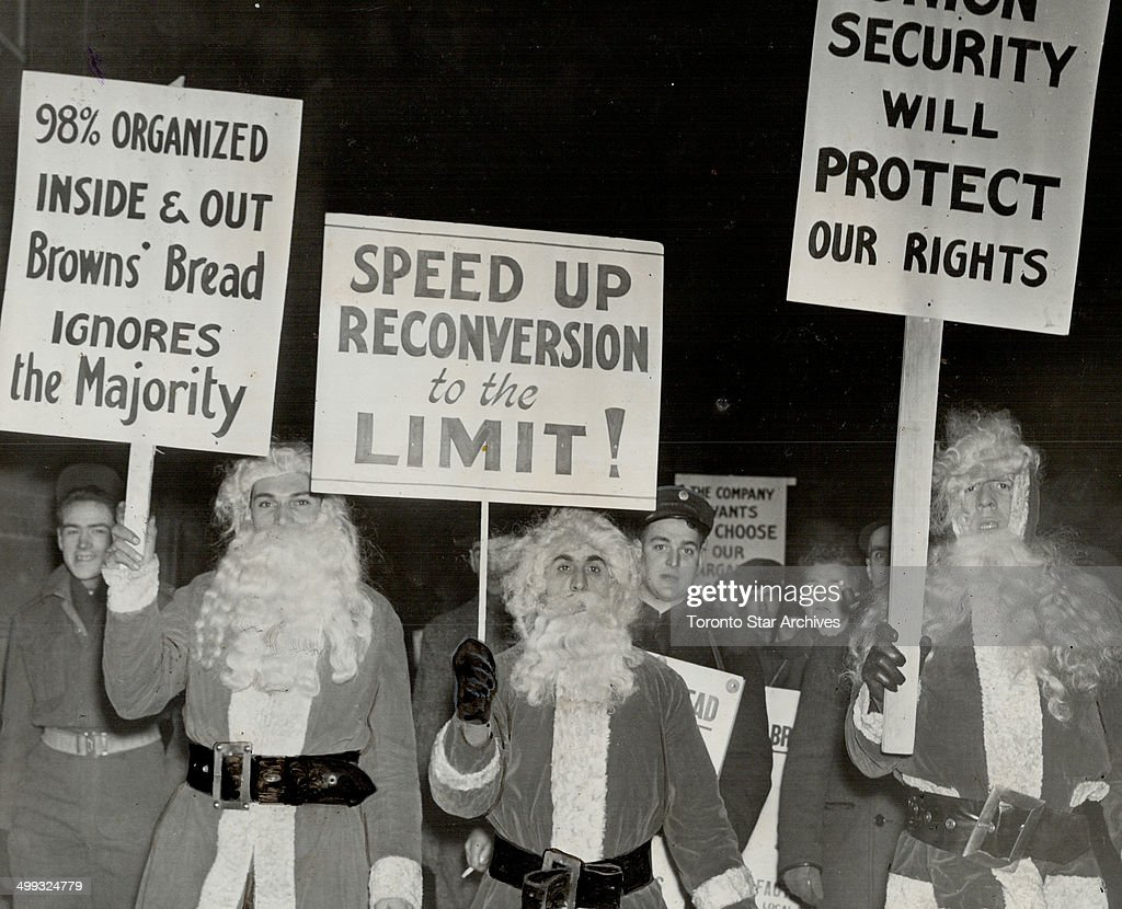 Santa claus; on the picket line gave a new twist to the picketing of the strike-bound Brown's Bread ... : News Photo