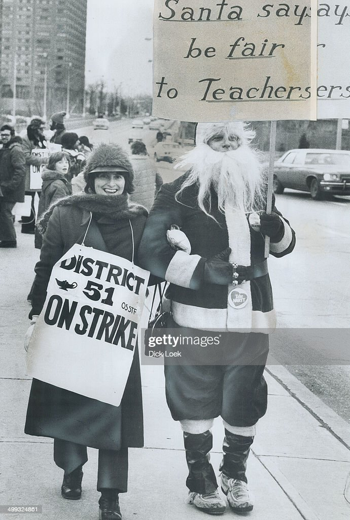 Santa Claus on the picket line yesterday at Overlea Secondary School in East York was Bill McDonald;... : News Photo