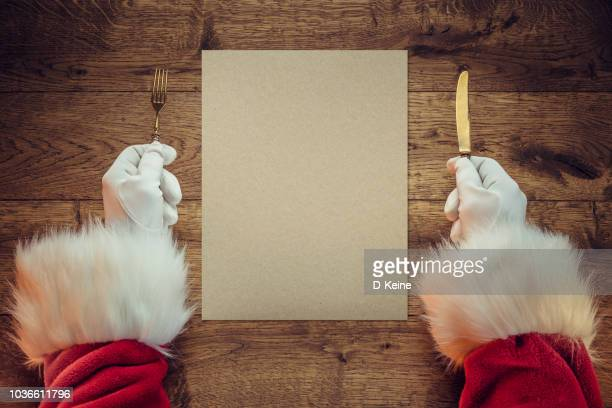 santa claus - menu stock pictures, royalty-free photos & images