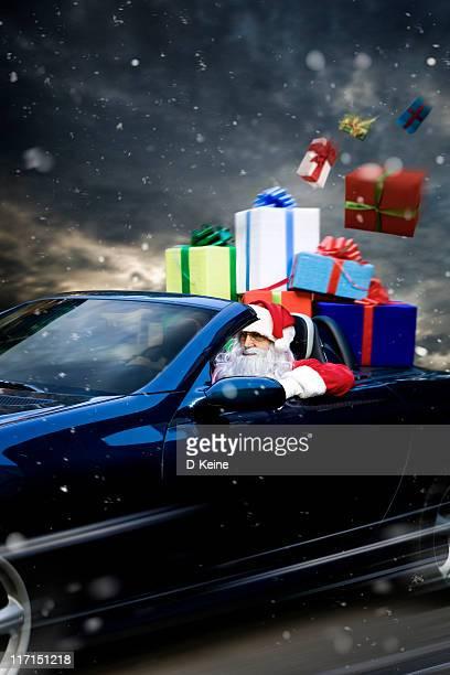 santa claus - pere noel voiture photos et images de collection