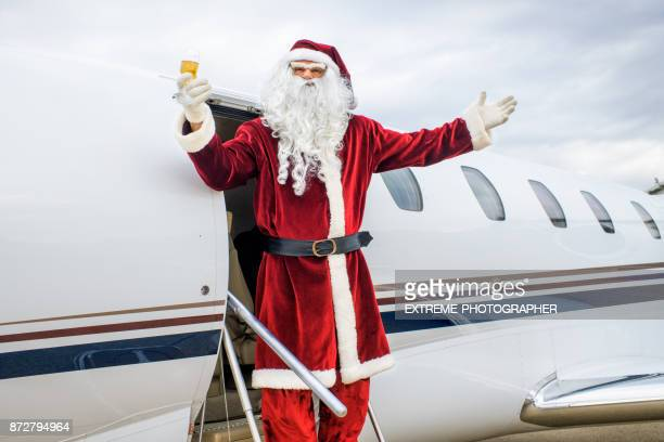 santa claus - christmas plane stock pictures, royalty-free photos & images