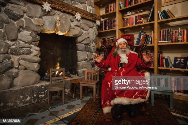 Santa Claus poses in his house in the Reggia of Venaria on December 2 2017 in Turin Italy