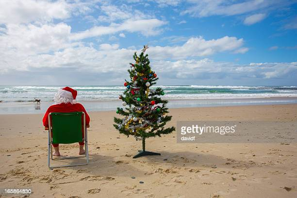 Santa Claus Relaxing at the Beach with a Christmas Tree