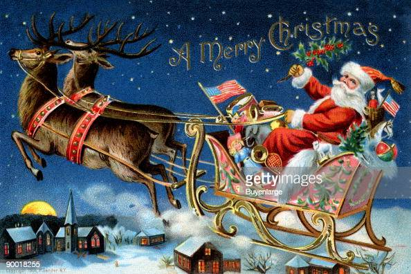 Santa Claus Rides In A Sleigh Overflowing With Toys