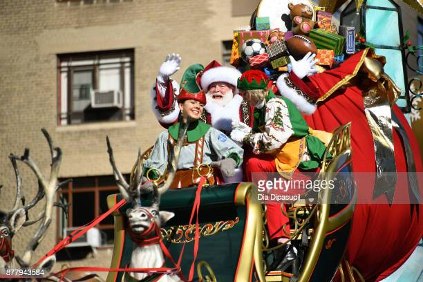 Santa Claus rides in the 91st Annual Macy's Thanksgiving Day Parade on November 23 2017 in New York City