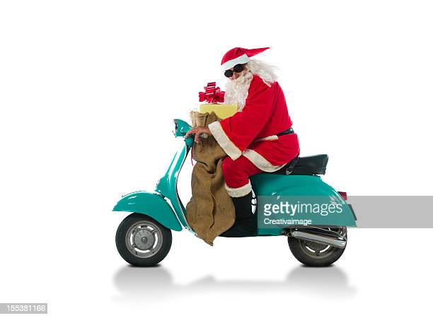 Santa Claus riding on a moto