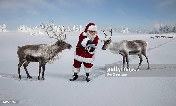 Santa Claus showing reindeer a map on tablet