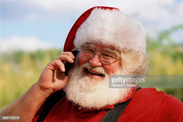 Santa Claus Talking on a Cell Phone
