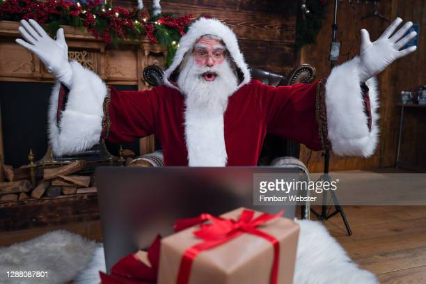 Santa Claus talks to children on Zoom on November 27, 2020 in Newquay, England. A new partnership between Santa Claus and Children's Hospice South...