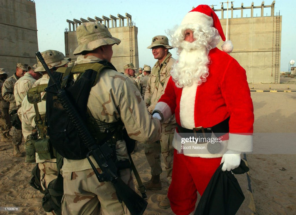 Santa Claus, U.S. Marine Major Mike Riddle, Wishes A Merry Christmas To  Hundreds Of