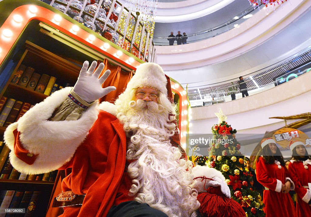 Santa Claus visits Wuhan International Plaza on December 24, 2012 in Wuhan, China.
