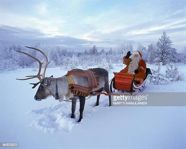 Santa Claus waves in Rovaniemi Finnish Lapland 23 December 2005