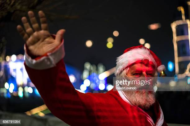 Santa Claus waving with his hand in Ljubljana