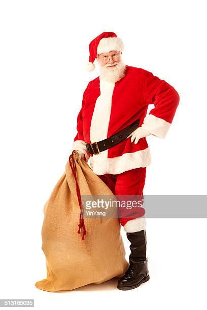 Santa Claus with Bag of Christmas Gift on White Background