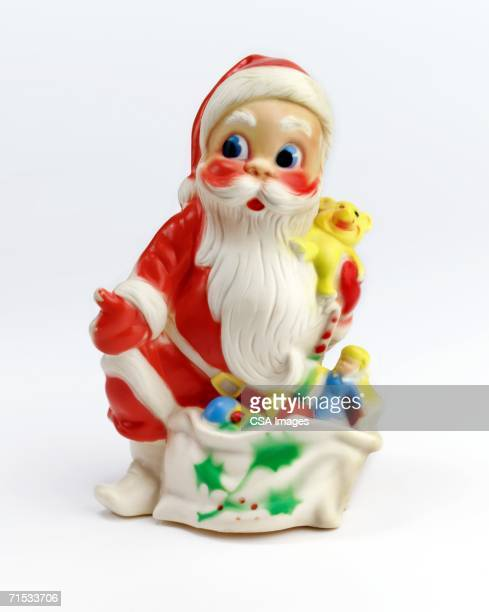 santa claus with bag of toys - kitsch - fotografias e filmes do acervo