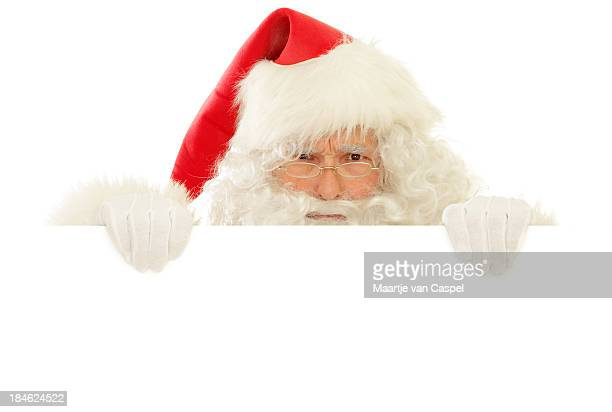 santa claus with blank sign, angry peekaboo - furious stock pictures, royalty-free photos & images