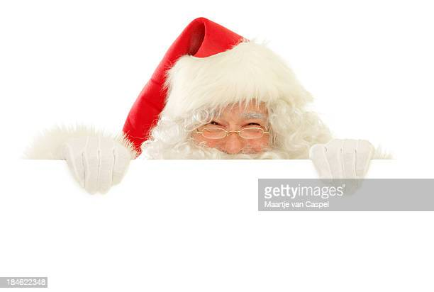 Santa Claus with Blank Sign, Happy Peekaboo