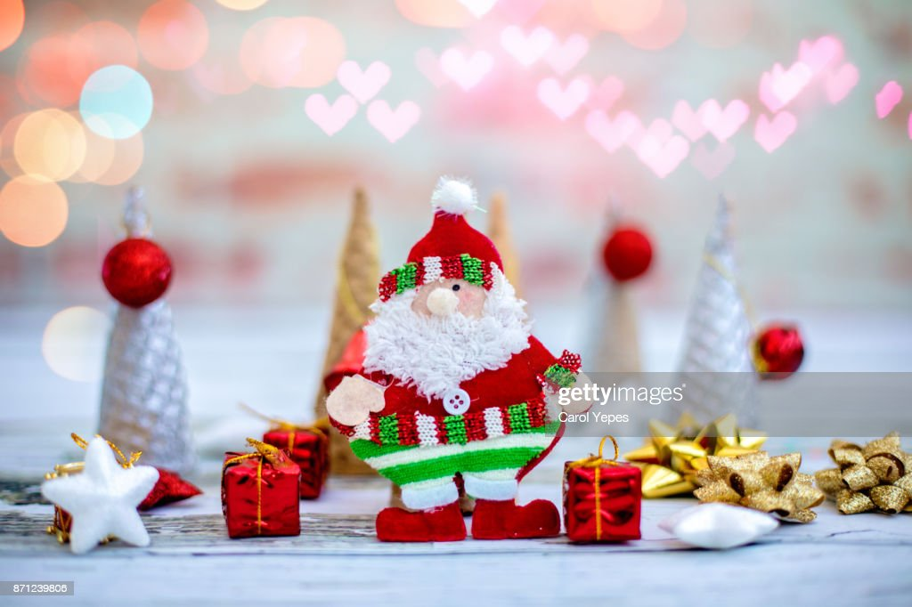 santa claus with gifts 2018 : Stock Photo