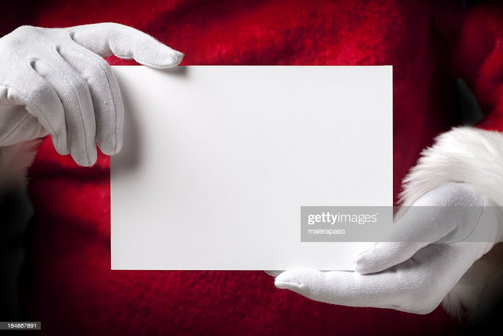 Santa Claus with greeting cards : Stock Photo