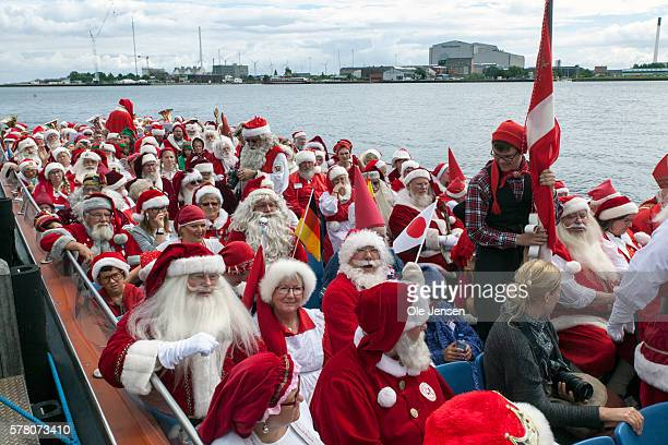 Santa Claus's from around the world gather this week at The World Santa Claus Congress in Copenhagen Denmark on July 18 2016 On the photo they board...