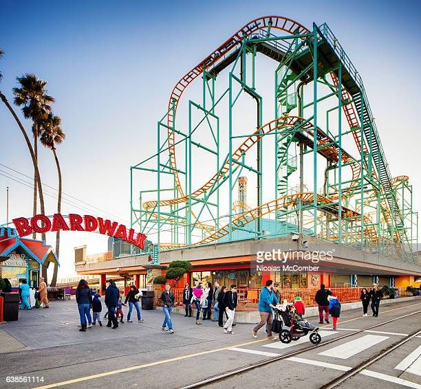 santa cruz california beach boardwalk with rollercoaster - entrance sign stock pictures, royalty-free photos & images