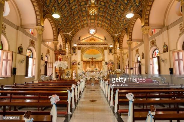 santa cruz church  the portuguese legacy in bangkok - church wedding decorations stock pictures, royalty-free photos & images