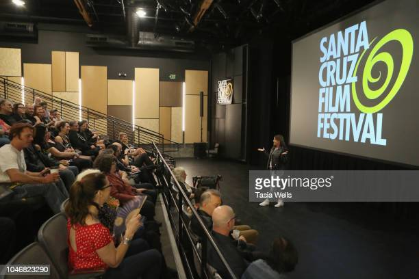 Santa Cruz Film Festival board member Angela Chesnut speaks onstage at the 2018 Santa Cruz Film Festival on October 6 2018 in Santa Cruz California