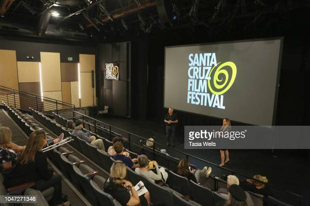 Santa Cruz Film Festival director Catherine Segurson and 'Fireland Dogs' director Juan Dickinson speak onstage at the 2018 Santa Cruz Film Festival...