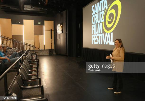 Santa Cruz Film Festival director Catherine Segurson introduces 'Goshen' at the 2018 Santa Cruz Film Festival on October 4 2018 in Santa Cruz...