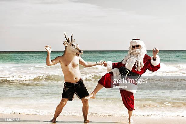 Santa dancing with his friend
