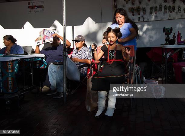 Santa Fe 2016 Indian Market: Mother Fixes Daughter's Traditional Hairdo