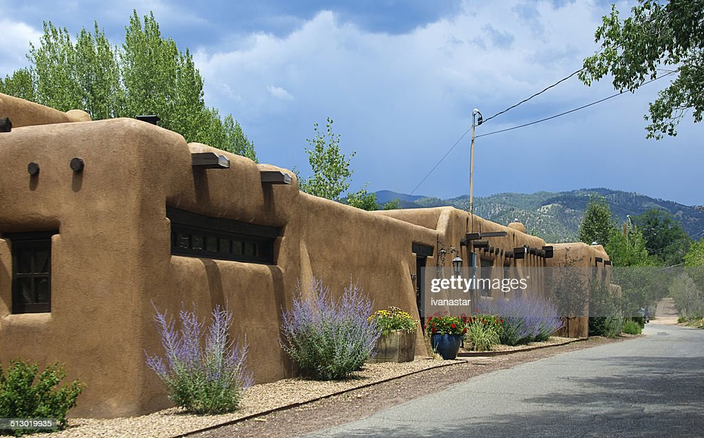 Santa Fe Adobe Houses on Upper Canyon Road : Stock Photo