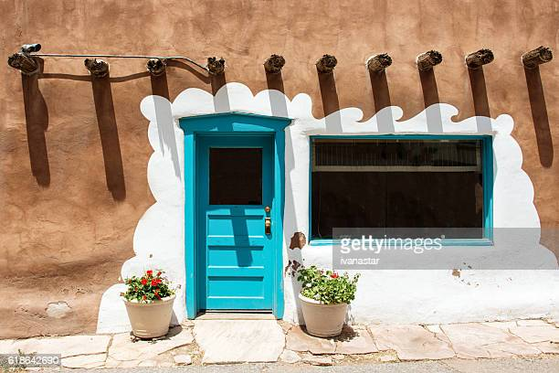 Santa Fe Blue Door on Stucco Wall