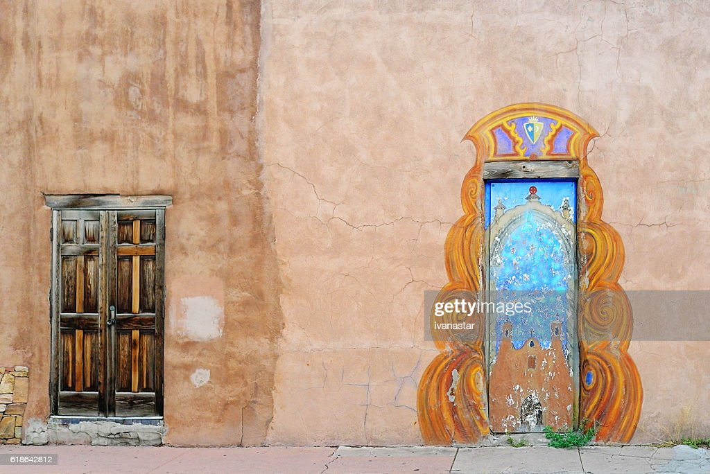 Santa Fe Elaborate Doors on Old Adobe Wall : Stock Photo