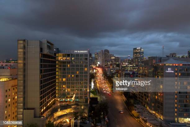santa fe in mexico city by night - santa fe province stock pictures, royalty-free photos & images