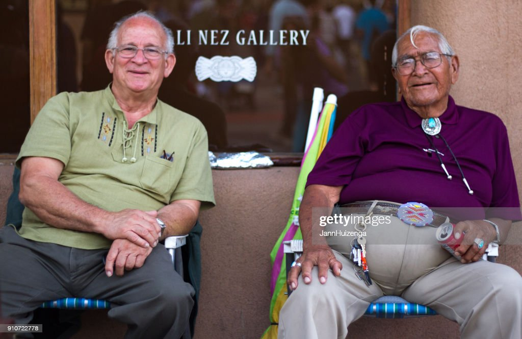 Santa Fe Indian Market: Two Senior Market-Goers Sitting : Stock Photo