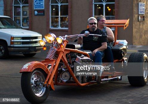 Santa Fe Nm Baby Boomer Couple On Fancy Orange Trike High ...