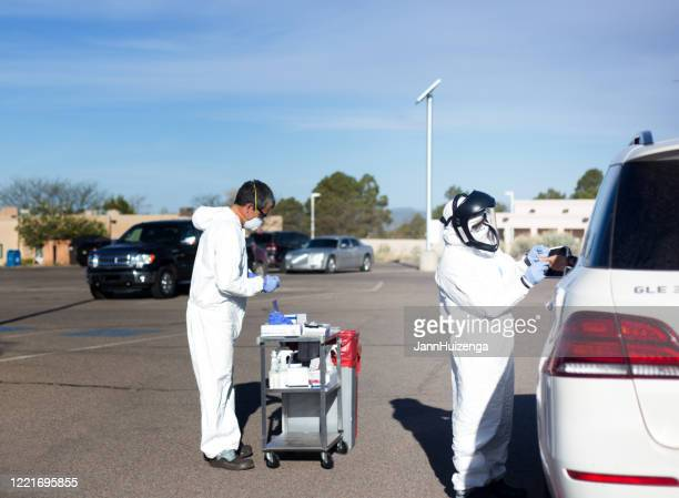 santa fe, nm: covid antibody testing in parking lot - antibody testing stock pictures, royalty-free photos & images