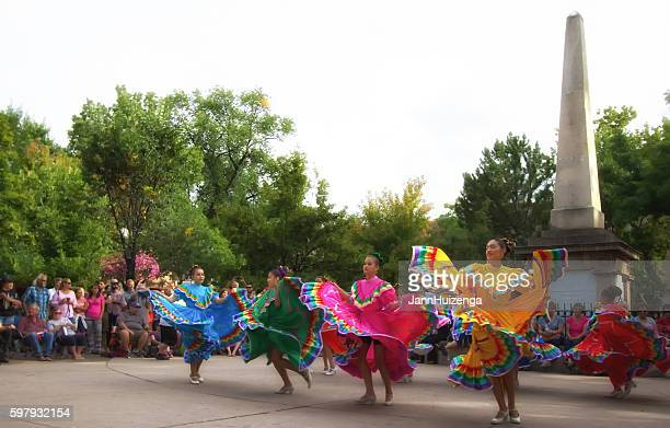 santa fe, nm: folk dancers on the historic downtown plaza - mexican fiesta stock pictures, royalty-free photos & images