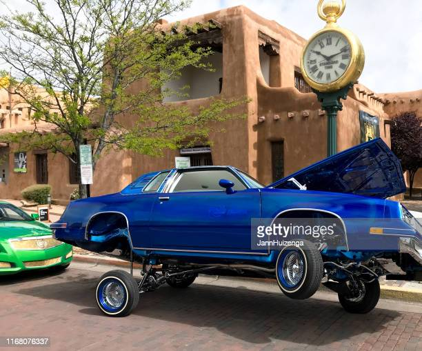 santa fe, nm: lowrider car on historic santa fe plaza - low rider stock pictures, royalty-free photos & images